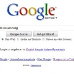Neues Suchfeld von Google.ch